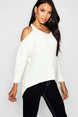 boohoo V Neck Cold Shoulder Jumper