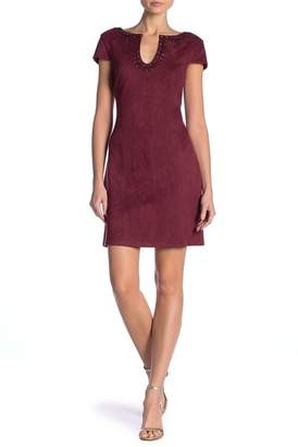 Vince Camuto Faux Suede U-Neck Dress