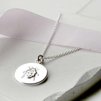 Tales From The Earth Personalised Sterling Silver Lucky Ladybird Necklace