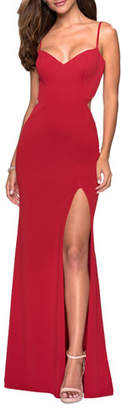 La Femme V-Neck Sleeveless Strappy-Back Jersey Gown