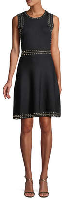 MICHAEL Michael Kors Studded-Trim Sleeveless Fit-and-Flare Dress