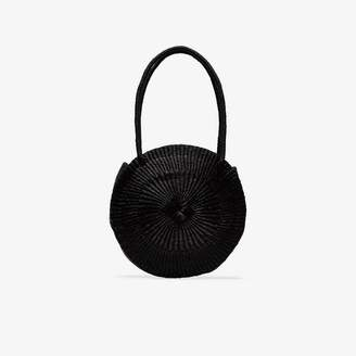 Sensi Studio black circle woven straw shoulder bag