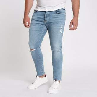 River Island Mens Big and Tall blue Danny skinny ripped jeans