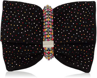 Jimmy Choo CHANDRA/M Black Suede Clutch Bag with Multi Scattered Crystals
