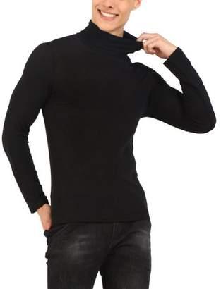 Unique Bargains Mens Stretch Long Sleeve Turtleneck Casual Slim Top Shirt