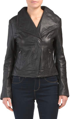 Leather Envelope Collar Jacket