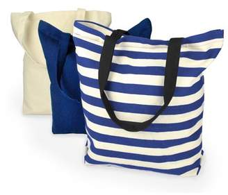 Dii DII 100% Cotton, Machine Washable Heavy Duty Canvas Reusable Shopping Tote Bag, Natural and Nautical Blue Stripe, Set of 3