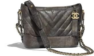 Chanel Gabrielle Hobo Bag Quilted Chevron Metallic Small Dark Silver/Gold
