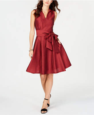 Robbie Bee Petite Collared Fit & Flare Dress