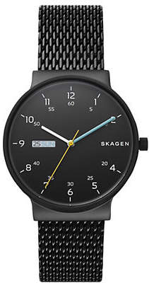 Skagen Three Hand Ancher Black Steel-Mesh Day-Date Watch