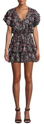 MISA Los Angeles Gallie Tiered Ruffle Chiffon Mini Dress
