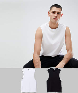 Asos DESIGN relaxed sleeveless t-shirt with dropped armhole 2 pack SAVE