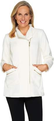 Bob Mackie Bob Mackie's Fleece Jacket with Pockets and Zipper Detail