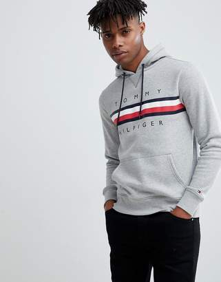 Tommy Hilfiger Icon stripe logo print hoodie in gray marl