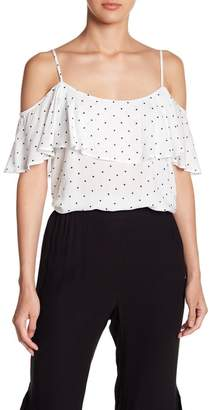 BB Dakota Polka Dot Cold Shoulder Blouse