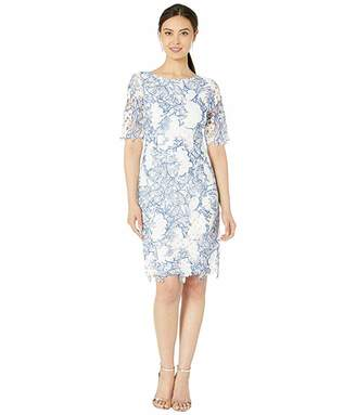 Tahari ASL Elbow Sleeve Corded Chemical Lace Dress