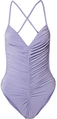 Norma Kamali Butterfly Mio Ruched Swimsuit - Violet