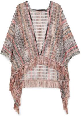 Missoni Fringed Crochet-knit Wrap - Pink