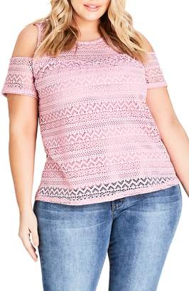 City Chic Serenity Lace Cold Shoulder Top