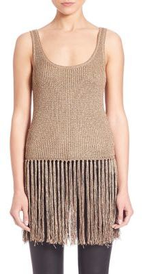 Polo Ralph Lauren Fringed Metallic Sweater Tank Top $225 thestylecure.com