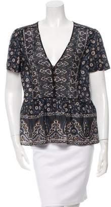 Veronica Beard Printed Short Sleeve Top