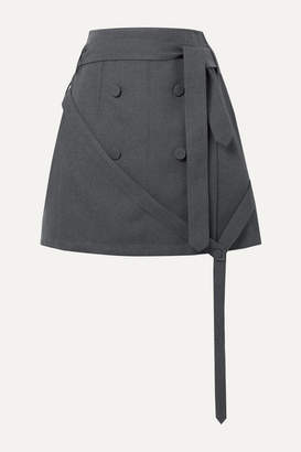Rokh Belted Button-embellished Twill Wrap Mini Skirt - Anthracite