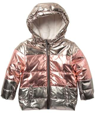 Free Country Faux Fur Lined Metallic Puffer Jacket (Toddler Girls)