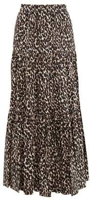 La DoubleJ Tiered Leopard Print Cotton Maxi Skirt - Womens - Leopard