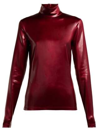 Givenchy High Neck Coated Satin Top - Womens - Burgundy