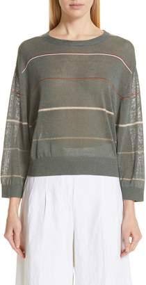 Brunello Cucinelli Stripe Linen Blend Sweater