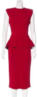 Victoria Beckham Crepe Peplum Dress