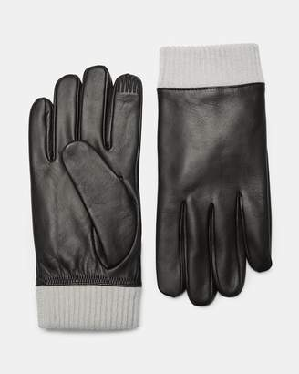 Theory Leather Ribbed Cuff Gloves