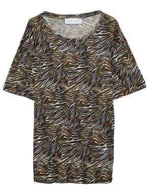 IRO Shay Distressed Zebra-Print Linen-Jersey T-Shirt