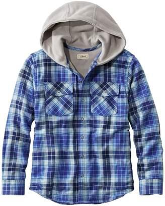 L.L. Bean L.L.Bean Kids' Fleece-Lined Flannel Shirt, Hooded Plaid