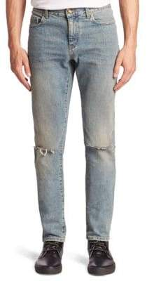 Saint Laurent Distressed Slim Fit Five-Pocket Style Jeans