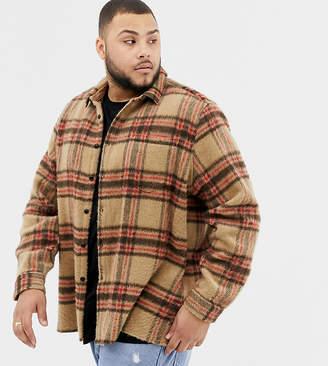Asos DESIGN plus check overshirt in camel