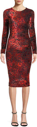 Fuzzi Long-Sleeve Leopard Animal-Pattern Velvet Cocktail Dress