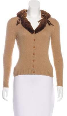 Blumarine Fur-Trimmed Cashmere Cardigan