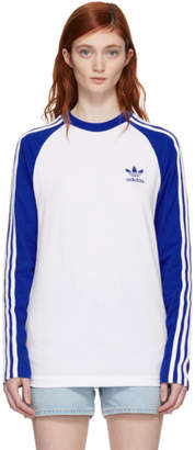 adidas White and Blue Long Sleeve 3-Stripes T-Shirt