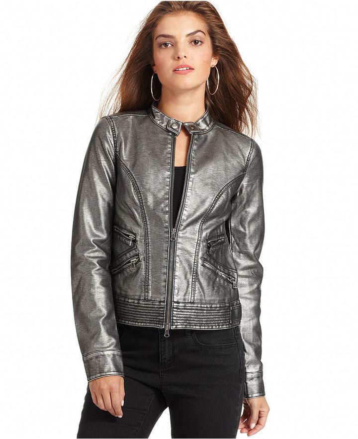 Calvin Klein Jeans Jacket, Metallic Moto Faux Leather