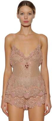 DSQUARED2 Embroidered Silk & Lace Top