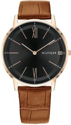 Tommy Hilfiger Dress Watch With Brown Leather Strap