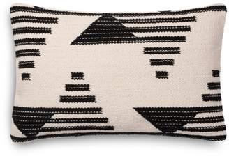 "Loloi Magnolia Embroidered Black & White Decorative Pillow, 13"" x 21"""