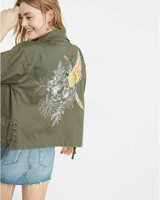 Express Embroidered Parrot Military Jacket $118 thestylecure.com