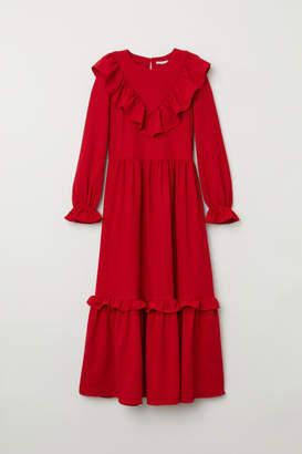 H&M Jacquard-weave Flounced Dress - Red