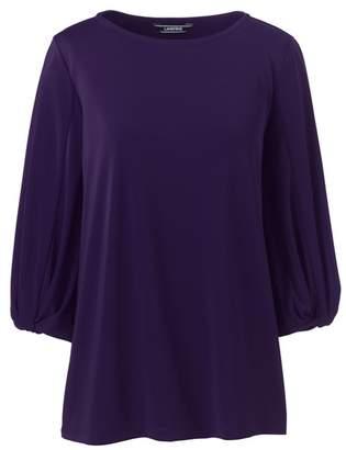 Lands' End Purple Petite Twist Sleeve Jersey Top