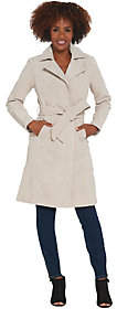 Halston H by Suede Trench Coat with StitchDetail