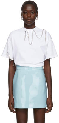 Christopher Kane White Crystal Squiggle Cupchain T-Shirt