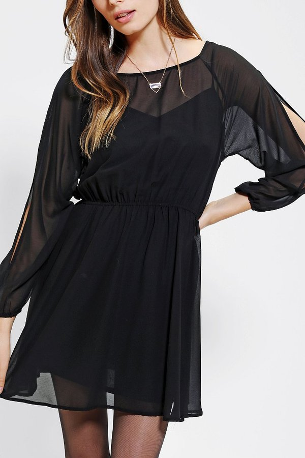 UO Pins And Needles Long-Sleeve Cold Shoulder Dress