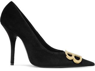 Balenciaga Knife Logo-embellished Velvet Pumps - Black
